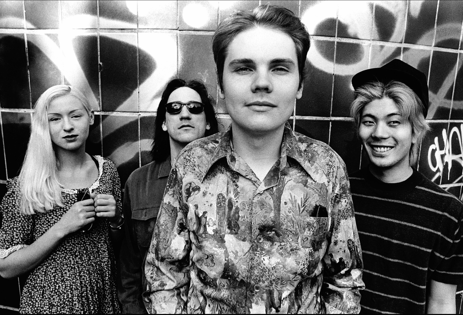 An image of the rock band The Smashing Pumpkins taken in 1993.