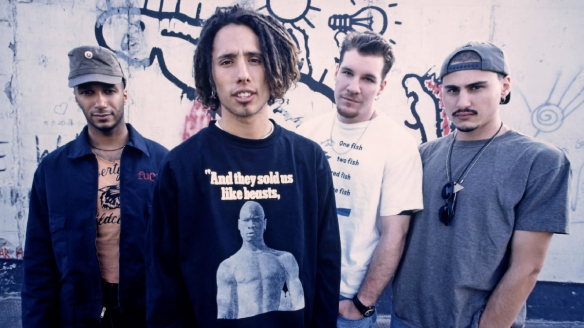An image of the band members of Rage Against The Machine.