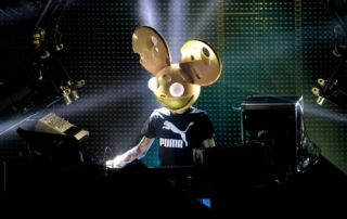 An image of electronic musician deadmau5 performing a live concert.