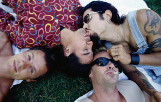 The Red Hot Chili Peppers in 1995 with guitarist Dave Navarro.